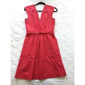 Tracy Reese scalloped trim red dress